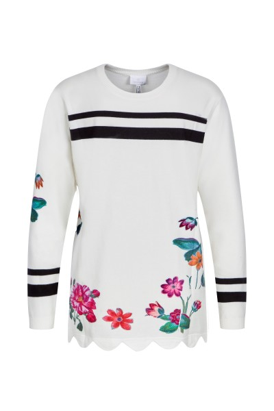 Sweater in the striped flower look