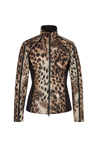 Feminine sweat jacket in all-over leo print