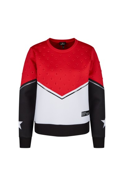 Fashionable casual sweater in colour blocking design