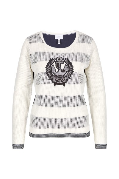 Knitted sweater with stripes and net
