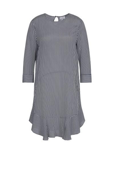 Kleid im Streifenlook mit Volant Detail