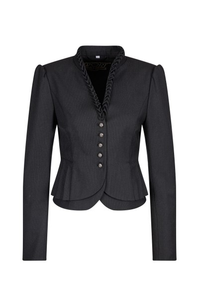 Sturdy jacket with stand-up collar and peplum
