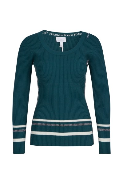 Figure-hugging knit sweater with stripes