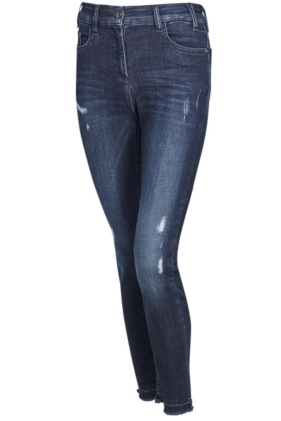 Blue denim jeans with casual effects
