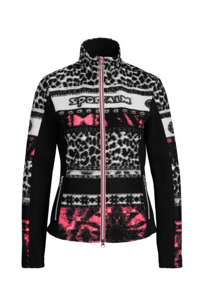 Fleece jacquard jacket with neon detail