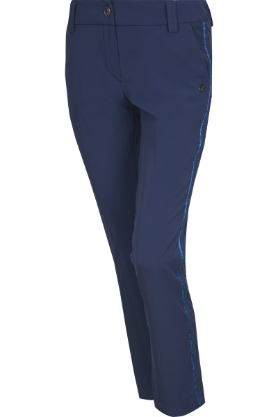 Stretchy golf trousers with side gallon stripes