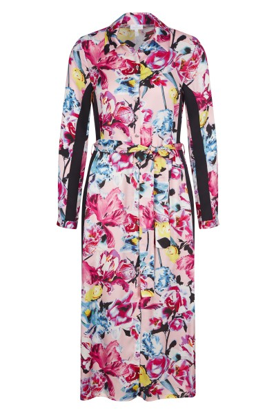 Flowery buttoned up midi dress