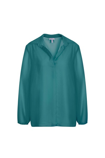 Loose, elegant tunic with a casual shirt collar