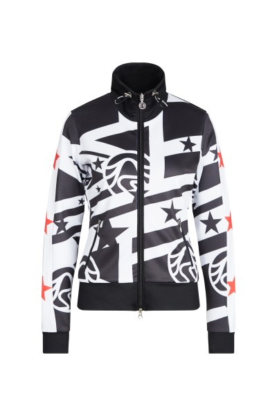 Sweat jacket with collection print motifs and transfer elements