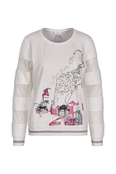 Sweater mit festlichem Print-Motiv