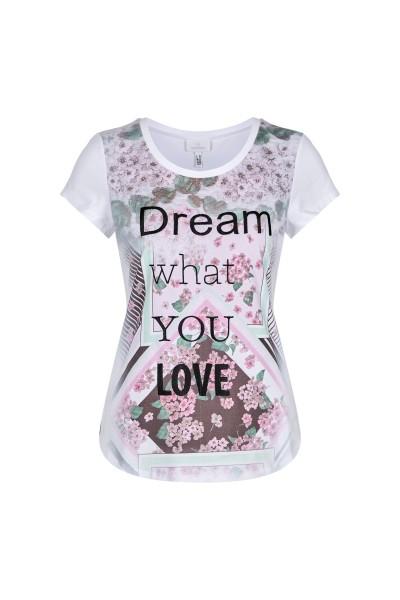 Shirt mit Blumendruck und Schriftzug
