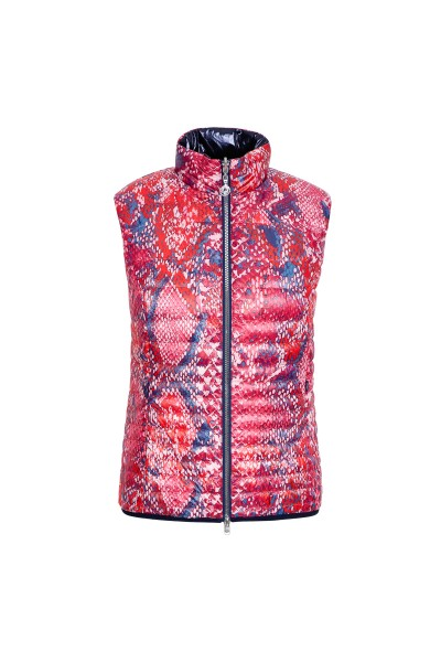 Quilted reversible vest with stand-up collar