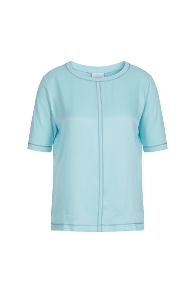 Jersey-Satin Top mit Lurexdetails