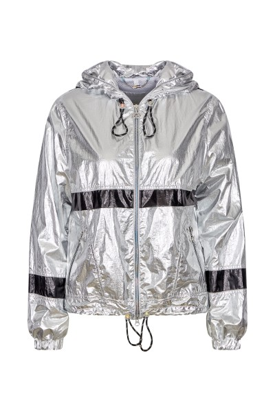 Hooded jacket in metallic nylon