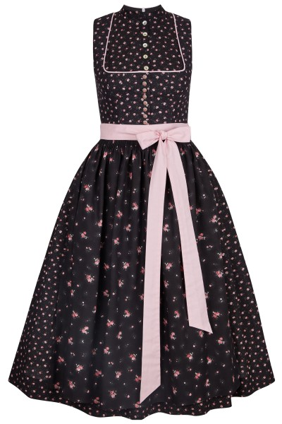 Cotton dirndl in all-over rose print