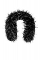 Schwarz-weißer Fin Raccoon-Pelzbesatz