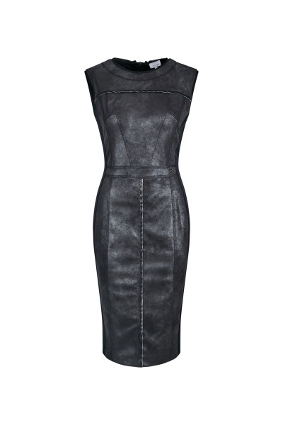 Sleeveless, form-fitting techno-stretch dress